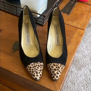 Martinez Valero black suede shoes w/leopard print